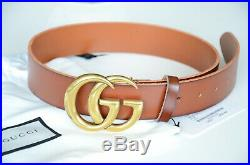 Auth Gucci Belt BROWN Leather Marmont 4cm GG Gold Buckle size 110/44 fits 38-40