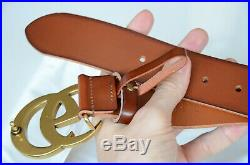 Auth Gucci Belt BROWN Leather Marmont 4cm GG Gold Buckle size 85 / 34 fits 28-30