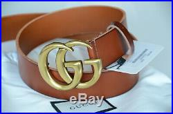Auth Gucci Belt BROWN Leather Marmont 4cm GG Gold Buckle size 95/38 fits 32-34