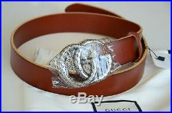 Auth Gucci Belt BROWN Leather Marmont 4cm GG SILVER Buckle sz 105/40 fits 36-38