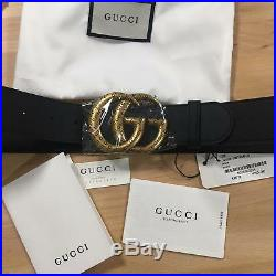 Auth Gucci Belt GG GOLD Buckle Black Leather MARMONT size 110 / 44 fits 38-40