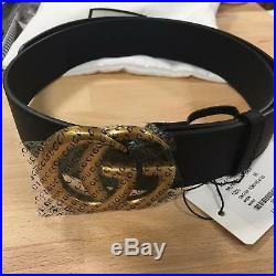 Auth Gucci Belt GG GOLD Buckle Black Leather MARMONT size 75 / 30 fits 24-26