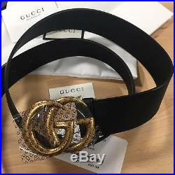 Auth Gucci Belt GG GOLD Buckle Black Leather MARMONT size 80 / 32 fits 26-28