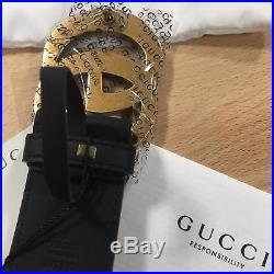 Auth Gucci Belt GG GOLD Buckle Black Leather MARMONT size 85 / 34 fits 28-20