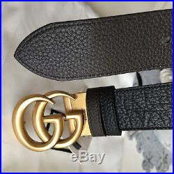 Auth Gucci Reversible Belt BLACK BROWN GG Gold Buckle size 80 / 32 fits 26-28