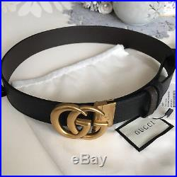 Auth Gucci Reversible Belt BLACK BROWN GG Gold Buckle size 85 / 34 fits 28-30