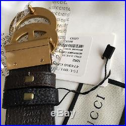 Auth Gucci Reversible Belt BLACK BROWN GG Gold Buckle size 95 / 38 fits 32-34
