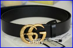 Auth Gucci SNAKE Belt BLACK MARMONT GG Gold Buckle size 100 / 40 fits 34-36