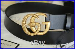 Auth Gucci SNAKE Belt BLACK MARMONT GG Gold Buckle size 90 / 36 fits 30-32