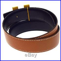 Auth HERMES Constance H Buckle Belt Leather Gold-tone Brown Black #65 62B1542