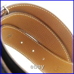 Auth HERMES Constance Reversible H Buckle Belt Black H in Square(2004) #f25598