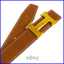 Auth HERMES Constance Reversible H Buckle Belt Leather Gold Brown #70 61BG495