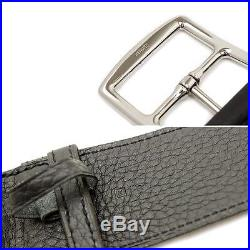 Auth HERMES Etriviere buckle Belt Traurillon Clemence Leather Black 90004161