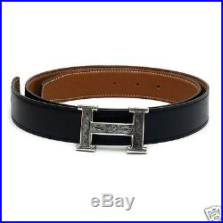 Auth HERMES H Belt Silver buckle x Black Leather, Men's accessories