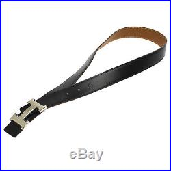 Auth HERMES Vintage H Logos Buckle Constance Reversible Belt Leather NR07660