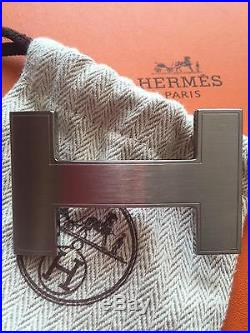 Auth Hermès 32 mm SILVER BRUSHED QUIZZ H Buckle for 32 mm Herme Belt