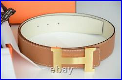 Authentic 42MM Hermes Reversible Belt BROWN / WHITE GOLD BRUSHED Buckle 90
