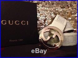 Authentic All White Gold Buckle Leather Gucci Belt 90cm 36in in Fits 30-32 Mens