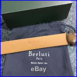 Authentic Berluti Belt Brown Leather Silver Buckle