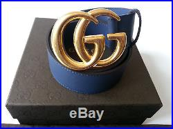 Authentic Blue Leather Gucci Belt withDouble G Buckle Gold 397660-43 Size 105 / 42