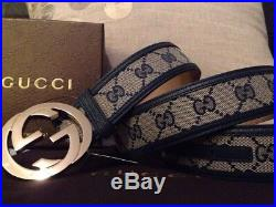 Authentic Blue Trim Gold Buckle Gucci Leather Belt 95cm 38in in Fits 32-34 Men
