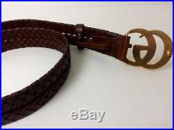 Authentic Briaded Leather Gucci Belt with Double G Buckle #405624 Size 95 / 38