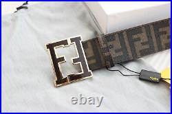 Authentic Brown Coffee Zucca Leather Fendi Classic College FF Buckle Belt