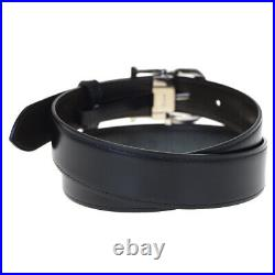 Authentic CARTIER Logo Buckle Belt Leather Black Silver Plated France 65BK643