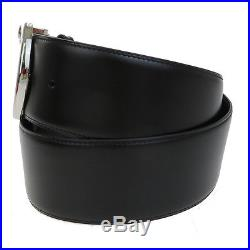 Authentic CARTIER Panther Men's Buckle Belt Leather Silver Plated Black 04V188