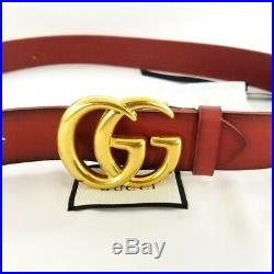 Authentic Cerisa Red Leather Gucci Belt withDouble G Buckle 406831 Size 100 No box