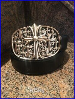 Authentic Chrome Hearts Sterling Cemetery Cross Buckle With Black leather Belt