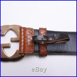 Authentic GUCCI BELT Python Leather Brown Gold Buckle Men's F/S
