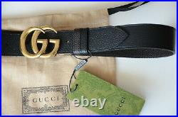 Authentic GUCCI Black Brown GOLD GG Buckle Reversible Belt size 85 fits 28-30