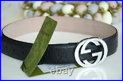 Authentic GUCCI Black GUCCISSIMA Silver GG Buckle Belt size 110 / 44 fits 38-40
