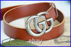 Authentic GUCCI Brown Belt Marmont Silver GG Buckle size 110 / 44 fits 38-40