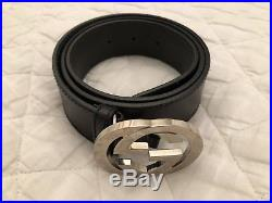 Authentic GUCCI Interlocking G Buckle Belt 90/36 Black Leather
