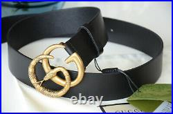 Authentic GUCCI KING SNAKE GOLD GG Buckle BLACK Belt size 100 / 40 fits 34-36