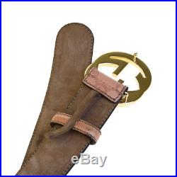 Authentic GUCCI Logo GG Pattern Men's Buckle Belt Leather Pink Gold-tone 66EG233