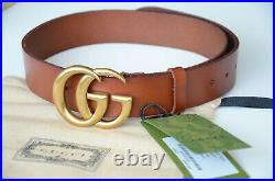 Authentic GUCCI MARMONT GOLD GG Buckle BROWN Belt size 105 fits 36-38