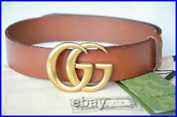 Authentic GUCCI MARMONT GOLD GG Buckle BROWN Belt size 110 fits 38-40