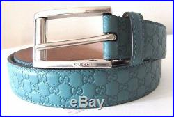 Authentic GUCCI Mens Guccissima Leather Belt Metal Buckle Teal 281798 95 38
