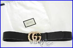 Authentic GUCCI PEARLS Black belt Gold GG Marmont Buckle sz 85 / 34 fits 28-30