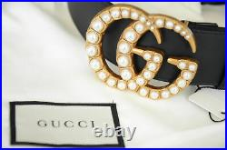 Authentic GUCCI PEARLS Black belt Gold GG Marmont Buckle sz 95 / 38 fits 32-34