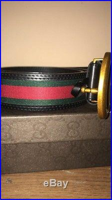 Authentic Gucci Belt Mens 42 Gold Buckle Signature FAST SHIPPING