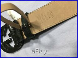 Authentic Gucci Black Shiny Imprime Two Tone GG Buckle Belt