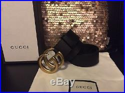 Authentic Gucci Men's Black Leather Belt With Gold Brass Buckle 80cm Fits 26-28