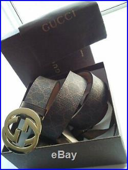 Authentic Gucci Men's Brown Gold Buckle Leather Belt 223891 95/38