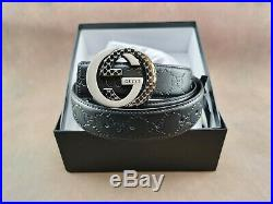 Authentic Gucci Men's Leather Belt GG Buckle Dark brown/Silver Size 110cm/43
