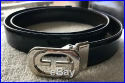 Authentic Gucci Mens Leather Belt Gg Buckle Size 36 90 Vintage Italy