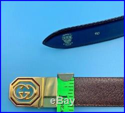 Authentic Gucci Mens Leather Belt Reversible Gg Buckle Size 36 90 Vintage Italy